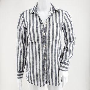 J. Crew G2534 Button-Up Shirt Striped Linen 0P